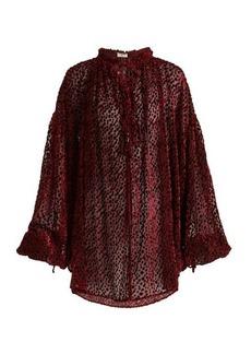 Saint Laurent Flocked velvet polka-dot peasant blouse
