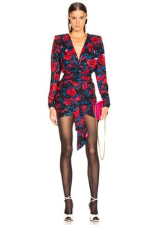 Saint Laurent Floral Draped Plunging Mini Dress