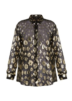 Saint Laurent Floral fil-coupé silk-blend chiffon blouse