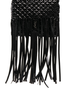 Saint Laurent Fringe Trim Woven Folk Bag