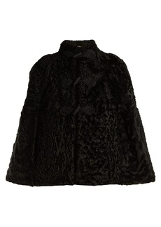 Saint Laurent Frog-fastening shearling cape