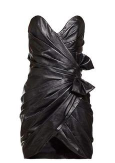 Saint Laurent Gathered leather mini dress