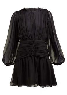 Saint Laurent Gathered silk-mousseline mini dress