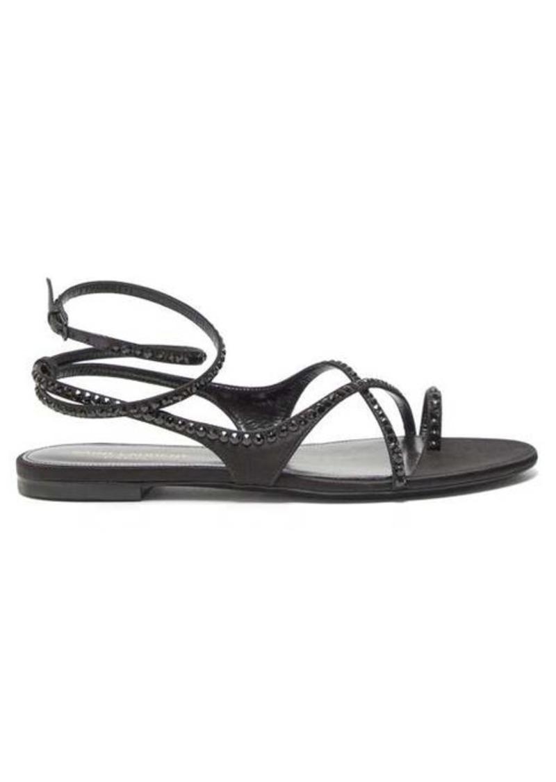 Saint Laurent Gia crystal-embellished satin sandals