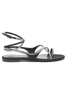 Saint Laurent Gia crystal-embellished wraparound satin sandals