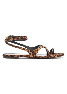 Saint Laurent Gia leopard-print calf-hair sandals