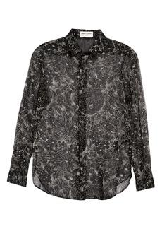 Saint Laurent Glitter Floral Silk Shirt