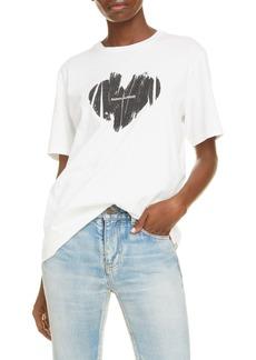 Saint Laurent Graphic Heart Logo Cotton Tee