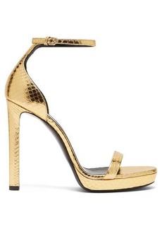Saint Laurent Hall 100 metallic snakeskin platform sandals
