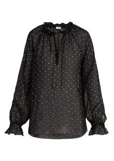 Saint Laurent Heart-print silk georgette blouse