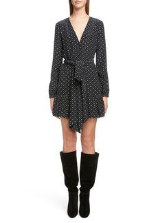 Saint Laurent Heart Print Tie Waist Silk Dress