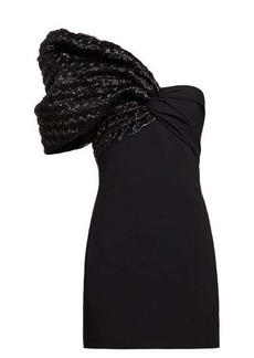 Saint Laurent Heart-quilted one-sleeve crepe mini dress