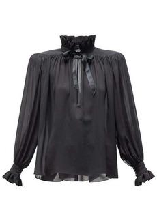 Saint Laurent High-neck wide-shoulder silk chiffon blouse