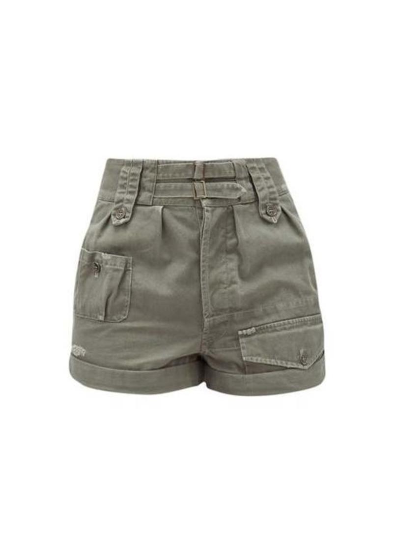 Saint Laurent High-rise buckled cotton-blend shorts