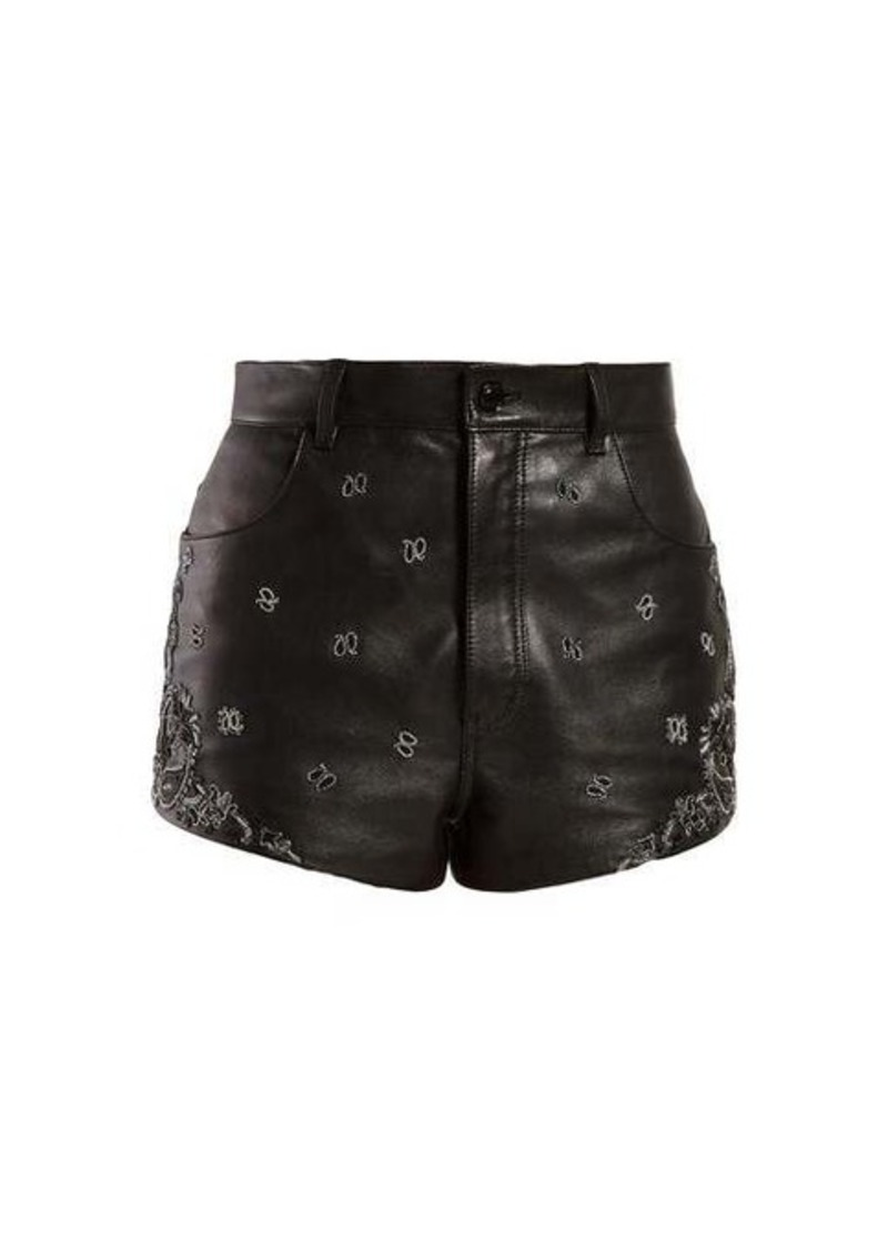 Saint Laurent High-rise embroidered leather shorts