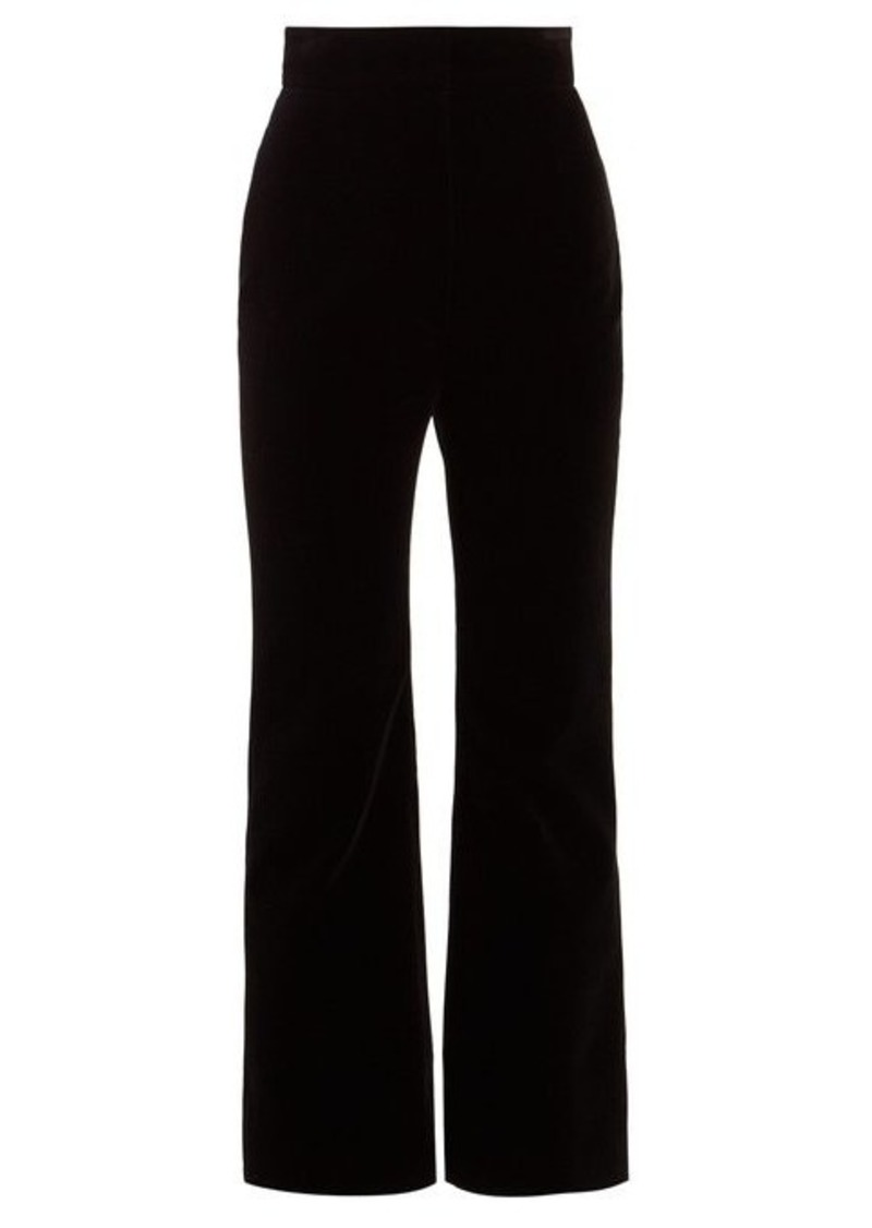 Saint Laurent High-rise kick-flare velvet trousers