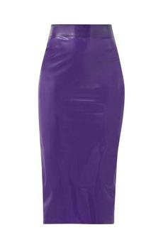 Saint Laurent High-rise latex midi skirt