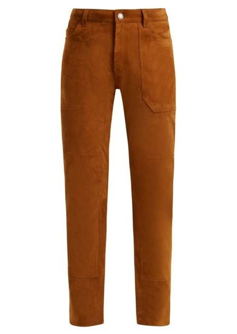 Saint Laurent High-rise slim-leg suede trousers