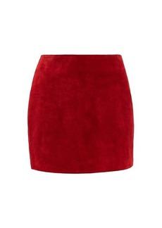 Saint Laurent High-rise suede mini skirt