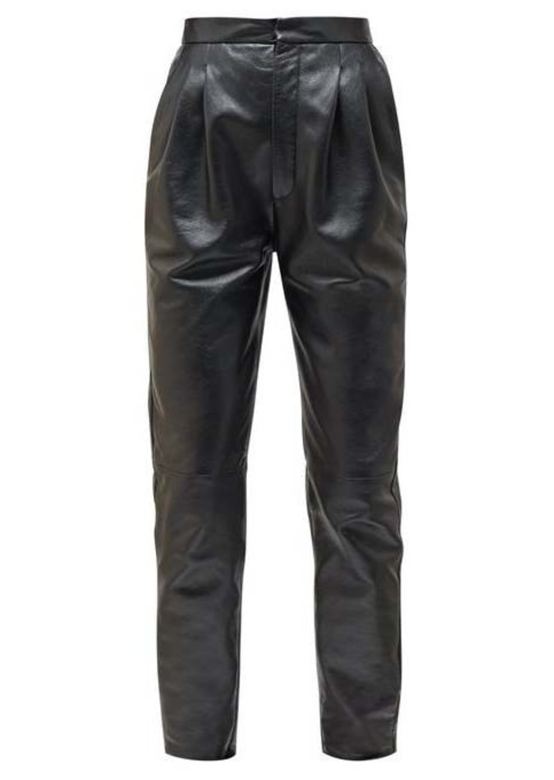 Saint Laurent High-rise tapered grained-leather trousers
