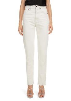 Saint Laurent High Waist Slim Jeans (Sandy White)