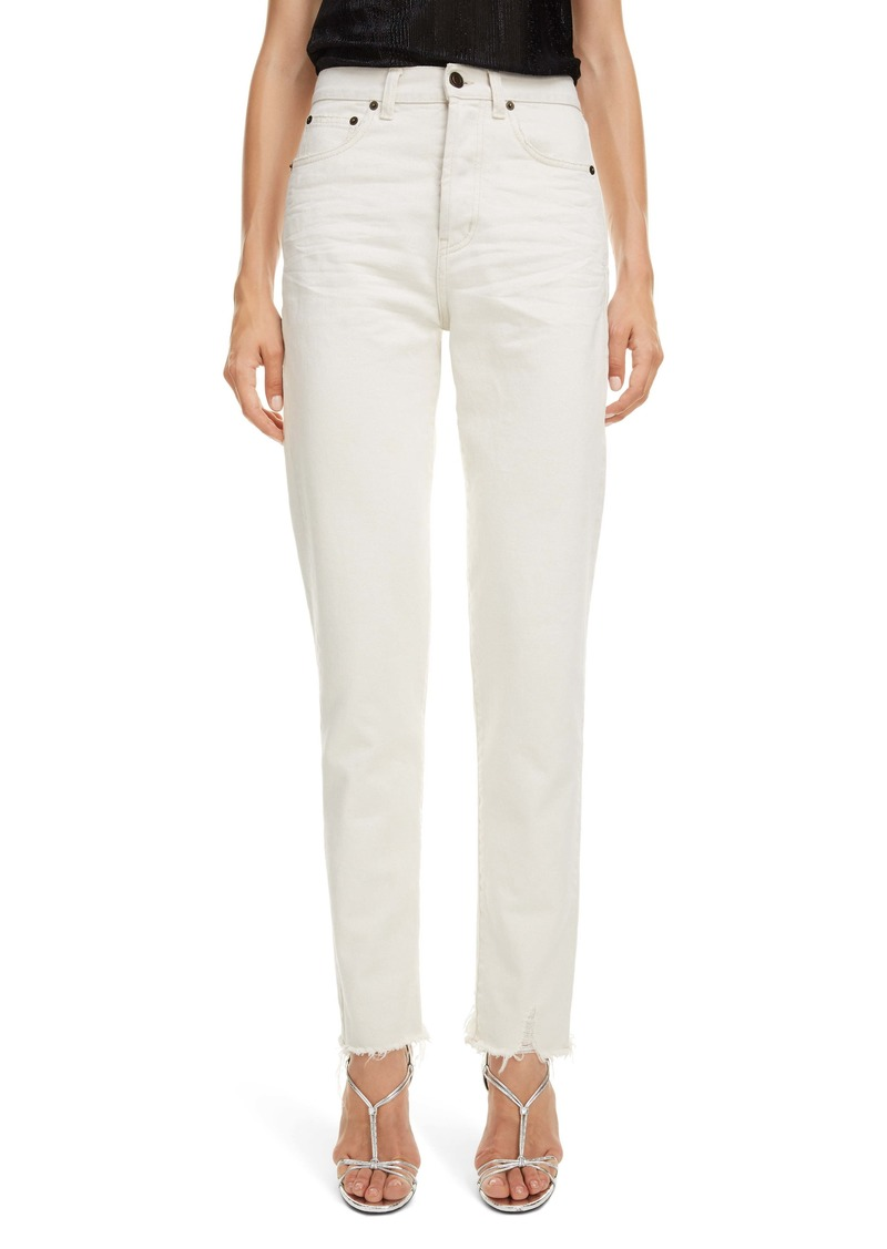 Saint Laurent High Waist Slim Jeans (Sandy White)