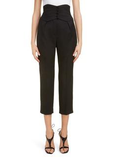 Saint Laurent High Waist Wool Crop Pants