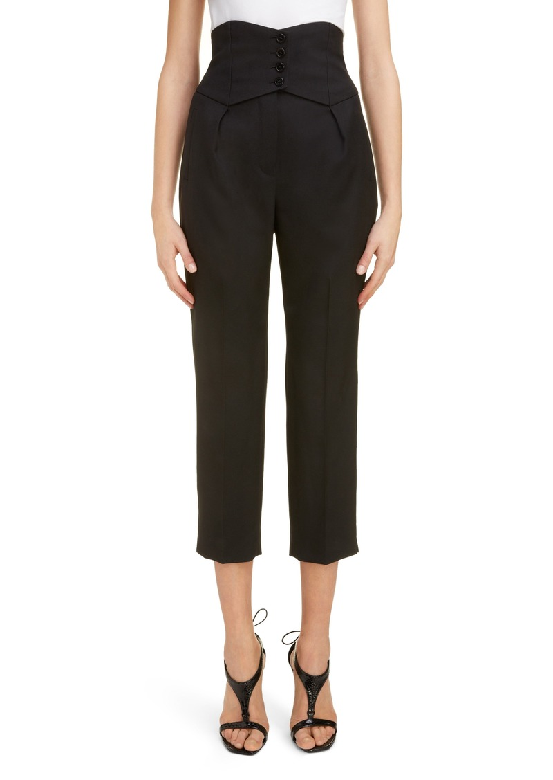 Saint Laurent High Waist Wool Crop Pants