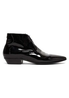 Saint Laurent Jonas patent-leather ankle boots