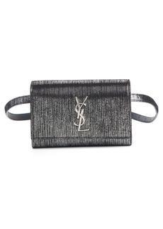 Saint Laurent Kate Lamé Lambskin Leather Belt Bag