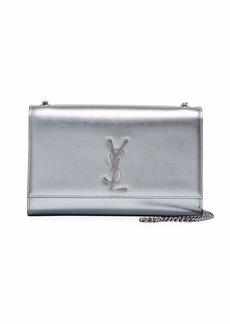Saint Laurent Kate Medium YSL Monogram Chain Metallic Leather Crossbody Bag