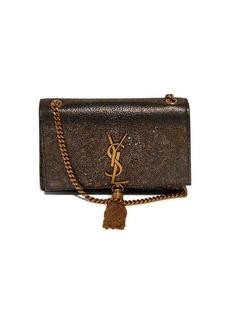 Saint Laurent Kate metallic-leather cross-body bag