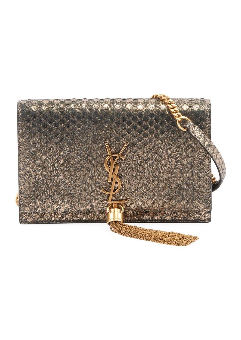 f83fac2b573 Kate Monogram YSL Small Python-Effect Tassel Wallet on Chain - Golden  Hardware