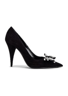 Saint Laurent Kiki Bow Suede Pumps