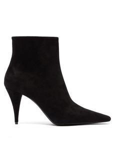 Saint Laurent Kiki cone-heel suede ankle boots