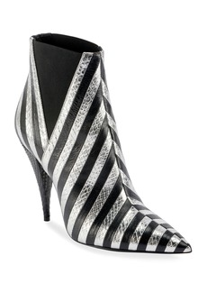 Saint Laurent Kiki Contrast Striped Leather Booties