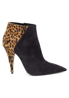 Saint Laurent Kiki leopard-print calf-hair suede ankle boots