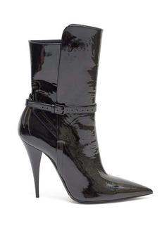 Saint Laurent Kiki point-toe patent-leather boots