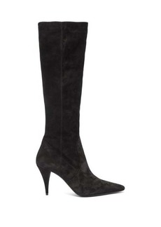 Saint Laurent Kiki pointed suede knee-high boots