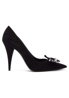Saint Laurent Kiki tile-studded bow suede pumps