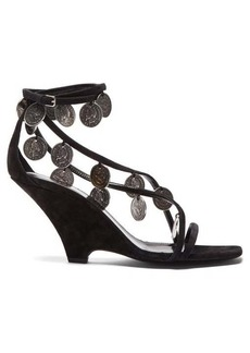 Saint Laurent Kim coin-embellished suede wedge sandals