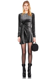 Saint Laurent Knot Detail Metallic Velvet Mini Dress
