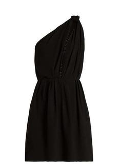 Saint Laurent Knot-shoulder draped mini dress