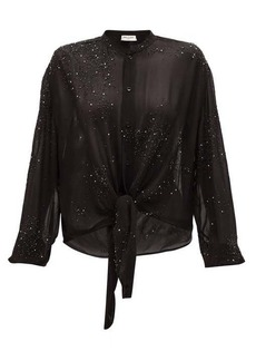 Saint Laurent Studded silk blouse