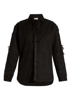 Saint Laurent Lace-up cotton blend-twill shirt