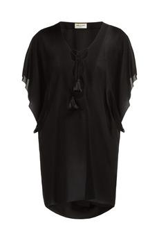 Saint Laurent Laced crepe mini dress