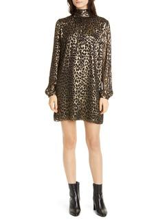 Saint Laurent Lamé Leopard Burnout Long Sleeve Silk Blend Shift Dress