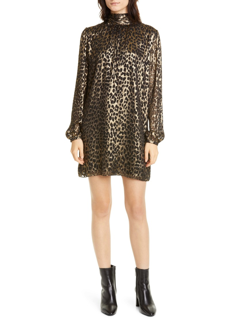 Saint Laurent Lamé Leopard Burnout Long Sleeve Silk Blend Shift Dress