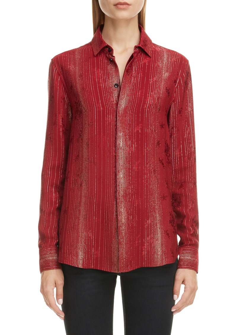 Saint Laurent Lamé Stripe Silk Blend Floral Jacquard Shirt