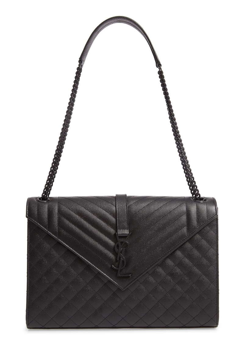 Saint Laurent Large Mono Calfskin Leather Shoulder Bag